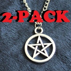 NEW 2-PACK PENTAGRAM STAR PENDANT CHAIN NECKLACE